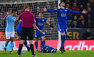 Shinji Okazaki of Leicester city and Vicente Iborra of Leicester city appeal to the referee for a free kick .Carabao Cup quarter final match, Leicester City v Manchester City at the King Power Stadium in Leicester, Leicestershire on Tuesday 19th December 2017.<br /> pic by Bradley Collyer, Andrew Orchard sports photography.
