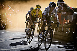 July 19, 2018 - Alpe D'Huez, France - British rider GERAINT THOMAS of Team Sky pictured in action during the twelfth stage in the 105th edition of the Tour de France cycling race, 175,5km from Bourg-Saint-Maurice Les Arcs to Alpe d'Huez. This year's Tour de France takes place from July 7th to July 29th. (Credit Image: © Yorick Jansens/Belga via ZUMA Press)