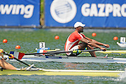 Lucerne, SWITZERLAND. CU M1X Angel FOURNIER RODRIGUEZ, at the start.  2012 FISA World Cup II, Lucerne Regatta.  Rotsee  Rowing Course,  Friday  25/05/2012  [Mandatory Credit Peter Spurrier/ Intersport Images].