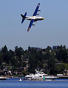 """The Blue Angels' """"Fat Albert"""", a C-130T,a Lockheed-Martin Hercules four engine aircraft, flies low over Lake Washington and the log boom. An all-Marine Corps crew of three officers and five enlisted men personnel operate the plane. It carries more than 40 maintenance and support personnel, their gear and spare parts to support the Blue Angels as they travel from town to town. (Greg Gilbert / The Seattle Times)"""