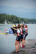 Plovdiv, Bulgaria, 9th May 2019. NED W4- Straight Women's Four, with rear riggers, boating, FISA, Rowing World Cup 1, [© Karon PHILLIPS/ Intersport Images],