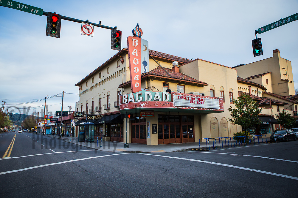 The Bagdad Theater and Hawthorne Blvd. empty during the Covid19 pandemic in Portland, Oregon.