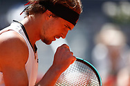 Alexander Zverev of Germany in action during his Men's Singles match, Quarter of Finals, against Rafael Nadal of Spain on the Mutua Madrid Open 2021, Masters 1000 tennis tournament on May 7, 2021 at La Caja Magica in Madrid, Spain - Photo Oscar J Barroso / Spain ProSportsImages / DPPI / ProSportsImages / DPPI