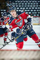 KELOWNA, CANADA - MARCH 27: Brandon Carlo #36 of Tri-City Americans warms up during the first game of round 1 of playoffs against the Kelowna Rockets on March 27, 2015 at Prospera Place in Kelowna, British Columbia, Canada.  (Photo by Marissa Baecker/Getty Images)  *** Local Caption *** Brandon Carlo;