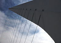 """View of tensors on Bridge """"La Mujer"""" in Puerto Madero, Buenos Aires. The Bridge was designed by Santiago Calatrava and its a Landmark on this tourist destination in Buenos Aires."""