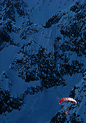 April 17, 1987. The late French extreme athlete Jean Marc Boivin paraglides into Italy from the summit of the Grandes Jorasses after making a historic five extreme ski descents in a single day, including the South Face of the Drus. Boivin was killed base jumping from Angel Falls in Venezuela February 17, 1990.