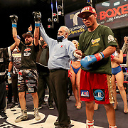 KISSIMMEE, FL - MARCH 05:   Yomar Alamo wins the WBO Latino Junior Welterweight title over Jesus Alberto Beltran during the Boxeo Telemundo All Star Boxing event at Osceola Heritage Park on March 5, 2021 in Kissimmee, Florida. (Photo by Alex Menendez/Getty Images) *** Local Caption *** Yomar Alamo; Jesus Alberto Beltran