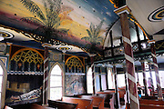 Hand-painted interior of St. Benedict's Roman Catholic Church, also known as the Painted Church. Honaunau, Kona, Big Island, Hawaii