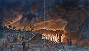 Eruption of Vesuvius - lava flow observed by ladies and gentlemen (including Hamilton?) After William Hamilton 'Campi Phlegraei', 1776.