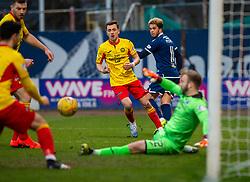 Partick Thistle's keeper Scott Fox saves Dundee's Declan McDaid's shot. Dundee 2 v 0 Partick Thistle, Scottish Championship game played 8/2/2020 at Dundee stadium Dens Park.