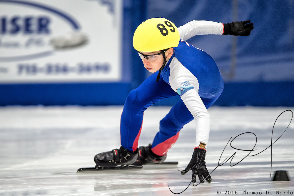 March 20, 2016 - Verona, WI - Ryan Hack, skater number 89 competes in US Speedskating Short Track Age Group Nationals and AmCup Final held at the Verona Ice Arena.