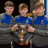 Ferdia O Lionain, Leon Kelly and Dylan Downes with the U15A trophy