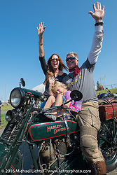 Team Vino's Dean Bordigioni celebrates with his wife Abigail and daughter after crossing the finish line at the end of Stage 16 (142 miles) of the Motorcycle Cannonball Cross-Country Endurance Run, which on this day ran from Yakima to Tacoma, WA, USA. Sunday, September 21, 2014.  Photography ©2014 Michael Lichter.