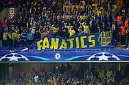 """Maccabi Tel Aviv away supporters with a 'FANATICS"""" banner during the 2nd half. UEFA Champions League group G match, Chelsea v Maccabi Tel Aviv at Stamford Bridge in London on Wednesday 16th September 2015.<br /> pic by John Patrick Fletcher, Andrew Orchard sports photography."""
