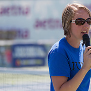 August 19, 2014, New Haven, CT:<br /> A guest speaks during the Latino Day tennis clinic on day five of the 2014 Connecticut Open at the Yale University Tennis Center in New Haven, Connecticut Tuesday, August 19, 2014.<br /> (Photo by Billie Weiss/Connecticut Open)