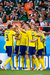 June 27, 2018 - Ekaterinburg, Russia - 180627 Players of Sweden celebrates after the 0-1 goal by Ludwig Augustinsson the FIFA World Cup group stage match between Mexico and Sweden on June 27, 2018 in Ekaterinburg..Photo: Petter Arvidson / BILDBYRÃ…N / kod PA / 87737 (Credit Image: © Petter Arvidson/Bildbyran via ZUMA Press)