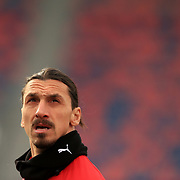 Zlatan Ibrahimovic (Milan) looks at the stands during the warmup of the Serie A Tim match between Bologna FC 1909 and AC Milan at Stadio Renato Dall'Ara on January, 30 2021 in Bologna, Italy.