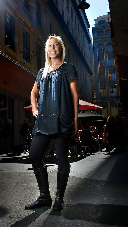 FASHION BRIGHTS. Andrea Hunt. Melburnians are famous for only wearing black. how are they going to take to the latest trend of wearing neon brights?Pic By Craig Sillitoe CSZ/The Sunday Age.2/9/2011 melbourne photographers, commercial photographers, industrial photographers, corporate photographer, architectural photographers, This photograph can be used for non commercial uses with attribution. Credit: Craig Sillitoe Photography / http://www.csillitoe.com<br /> <br /> It is protected under the Creative Commons Attribution-NonCommercial-ShareAlike 4.0 International License. To view a copy of this license, visit http://creativecommons.org/licenses/by-nc-sa/4.0/.