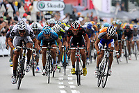 Sykkel<br /> Tour de France<br /> Foto: DPPI/Digitalsport<br /> NORWAY ONLY<br /> <br /> CYCLING - TOUR DE FRANCE 2009 - BARCELONA (ESP) - 09/07/2009 <br /> <br /> STAGE 6 - GERONE > BARCELONA - THOR HUSHOVD (NOR) / CERVELO TEST TEAM / WINNER - OSCAR FREIRE (ESP) / RABOBANK / 2ND - JOSE JOAQUIM ROJAS (ESP) / CAISSE D'EPARGNE / 3RD