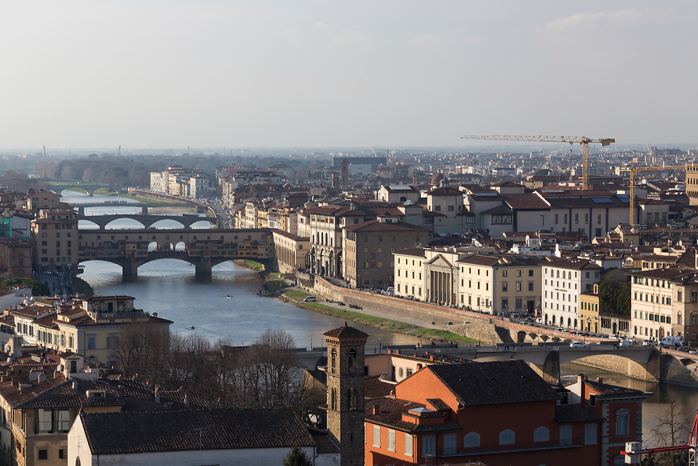 Arno river and Ponte Vecchio  in Florence, Italy.