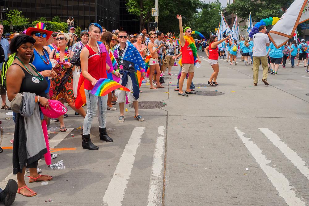 United States, Washington, Seattle Gay Pride Parade, June 28th, 2015. Spectators along parade route.