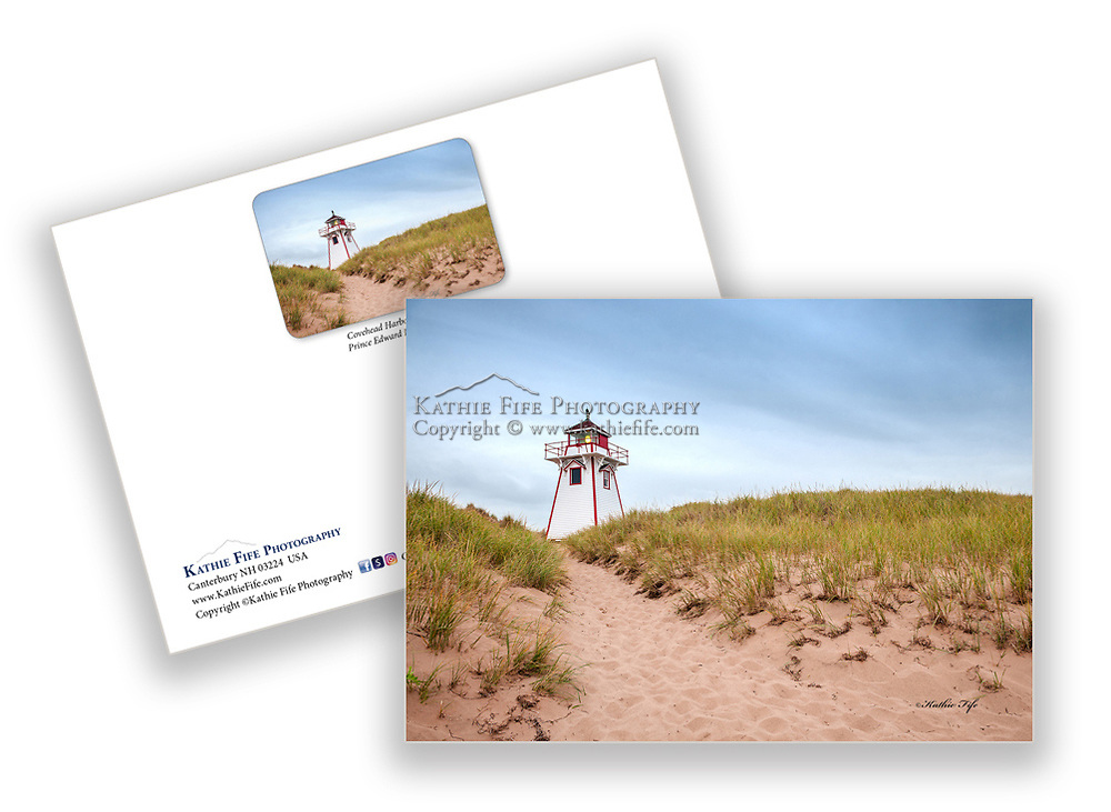 Covehead Lighthouse, Cavendish Prince Edward Island, Canada<br /> 5x7 greeting card 100% Recycled paper