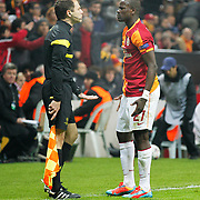 Galatasaray's Emmanuel Eboue (R) during their UEFA Champions League Round of 16 First leg soccer match Galatasaray between Chelsea at the AliSamiYen Spor Kompleksi in Istanbul, Turkey on Wednesday 26 February 2014. Photo by Aykut AKICI/TURKPIX