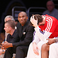 05 January 2014: Los Angeles Lakers shooting guard Kobe Bryant (24) is seen on the bench next to Los Angeles Lakers center Pau Gasol (16) during the Denver Nuggets  137-115 victory over the Los Angeles Lakers at the Staples Center, Los Angeles, California, USA.