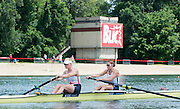 Belgrade, SERBIA, GBR W2-, Bow Helen GLOVER and Polly SWANN in the opening strokes of their heat at the 2014 FISA European Rowing Championships. Lake Sava. <br /> <br /> <br /> 11:50:01  Friday  30/05/2014<br /> <br /> [Mandatory Credit; Peter Spurrier/Intersport-images]