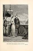 She showed him the most lively gratitude. from the book ' Around the world in eighty days ' by Jules Verne (1828-1905) Translated by Geo. M. Towle, Published in Boston by James. R. Osgood & Co. 1873 First US Edition