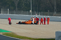 February 26, 2018 - Barcelona, Catalonia, Spain - Fernando Alonso of Spain and McLaren F1 checks over his car after stopping on track during day one of F1 Winter Testing at Circuit de Catalunya on February 26, 2018 in Montmelo, Spain. (Credit Image: © Joan Valls/NurPhoto via ZUMA Press)