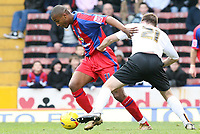 Photo: Alex Pelaez.<br /> Crystal Palace v Luton Town. Coca Cola Championship. 24/02/2007.<br /> Morrison of Palace tries to get away from Keane of Luton