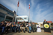 Milpitas Mayor Jose Esteves thanks Veterans for their support and sacrifices during his speech during the Veterans Day Ceremony at Milpitas City Hall's Veterans Plaza in Milpitas, California, on November 11, 2013. (Stan Olszewski/SOSKIphoto)