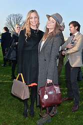 Left to right, OLIVIA HALLINAN and KELLY EASTWOOD at the 2014 Hennessy Gold Cup at Newbury Racecourse, Newbury, Berkshire on 29th November 2014.  The Gold Cup was won by Many Clouds ridden by Leighton Aspell.