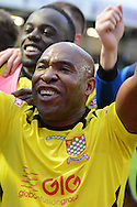 Chesham United striker Barry Hayles celebrates win during the The FA Cup match between Bristol Rovers and Chesham FC at the Memorial Stadium, Bristol, England on 8 November 2015. Photo by Alan Franklin.