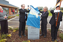 © Licensed to London News Pictures.  28/09/2012. Westcott, UK. Speaker and Buckingham MP John Bercow (pictured 2nd right) and Kenneth Bannerman (pictured 2nd left), DG of the Airfields of Britain Conservation Trust unveil a memorial stone at Westcott Airfield in Buckinghamshire. During WW2 the airfield was used to train bomber crews and to repatriate 50,000 former British prisoners of war. Captured German rockets were also tested. The airfield is now a business park. Photo credit :  Cliff Hide/LNP