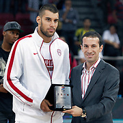 Olympiacos's Georgios PRINTEZIS (L) during their Two Nations Cup basketball match Anadolu Efes between Olympiacos at Abdi Ipekci Arena in Istanbul Turkey on Sunday 02 October 2011. Photo by TURKPIX