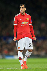 31st October 2017 - UEFA Champions League - Group A - Manchester United v SL Benfica - Henrikh Mkhitaryan of Man Utd pulls his shirt down - Photo: Simon Stacpoole / Offside.