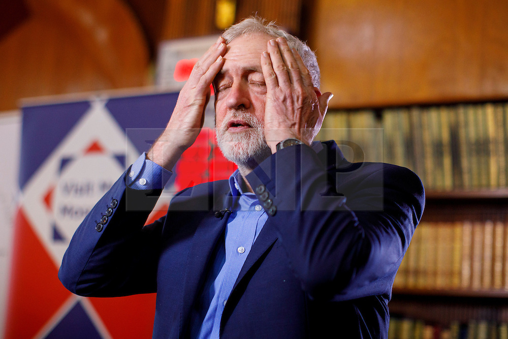 © Licensed to London News Pictures. 05/02/2017. London, UK. Labour leader JEREMY CORBYN gets ready for a TV interview at Finsbury Park Mosque in North London during an open day following his visit. On Visit My Mosque Day over 150 mosques around the UK open their doors to the public, offering a better understanding of religion in effort to counter rising Islamophobia.  Photo credit: Tolga Akmen/LNP