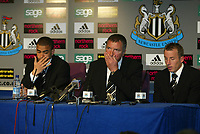Photo. Andrew Unwin, Digitalsport<br /> Newcastle United v Aston Villa, Barclays Premiership, St James' Park, Newcastle upon Tyne 02/04/2005.<br /> Newcastle's Kieron Dyer (L) and Lee Bowyer (R) offer an apology for their behaviour to the club, fans and manager, Graeme Souness (C).