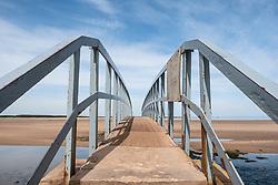 View of Belhaven Bridge crossing river towards beach in East Lothian , Scotland, United Kingdom