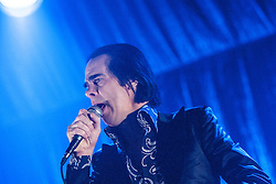 Nick Cave, frontman of Nick Cave and the Bad Seeds, on stage tonight at The Barrowlands, Glasgow, Scotland.<br /> ©Michael Schofield.