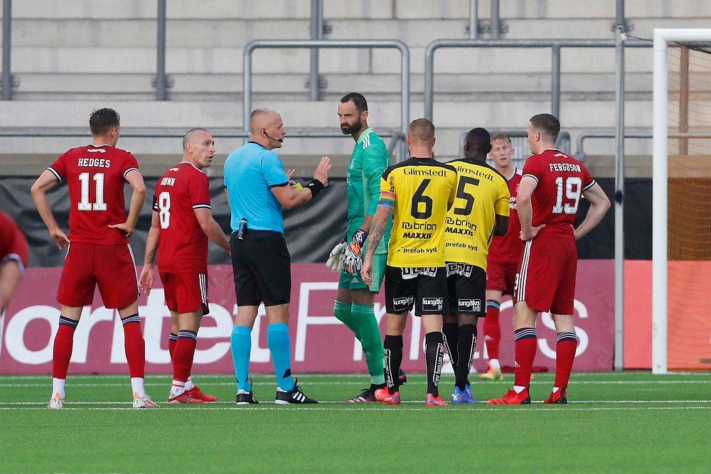 GOTHENBURG, SWEDEN - JULY 29: Joe Lewis is booked <br /> during the UEFA Europa Conference League Qualifying match 2nd leg between BK Hacken and Aberdeen FC at Bravida Arena on July 29, 2021 in Gothenburg, Sweden.<br /> (Photo by Derek Ironside/Newsline Media)