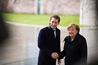 DEU, Deutschland, Germany, Berlin, 17.01.2018: Bundeskanzlerin Dr. Angela Merkel (CDU) und der Bundeskanzler von Österreich, Sebastian Kurz, beim Empfang mit militärischen Ehren im Bundeskanzleramt.