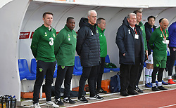 Republic of Ireland manager Mick McCarthy (centre) with coaches Robbie Keane (left) and Terry Connor (second left) during the UEFA Euro 2020 Qualifying, Group D match at the Victoria Stadium, Gibraltar.