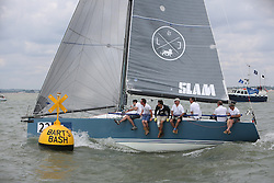 Brewin Dolphin Scottish Series 2014, the start of an International IRC competition racing on the Solent off Cowes and hosted by the RORC.<br /> <br /> Rod Stuart and John Highcock on Team Scotland's, Aurora, a Corby 37<br /> <br /> Credit.  Marc Turner