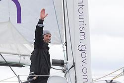 Damian Foxall (IRL) waves after beating the record. Oman Sail's MOD70 Musandam races in the Eckernförde race at  Kiel week 2014, 21-06-2014, Kiel - Germany.