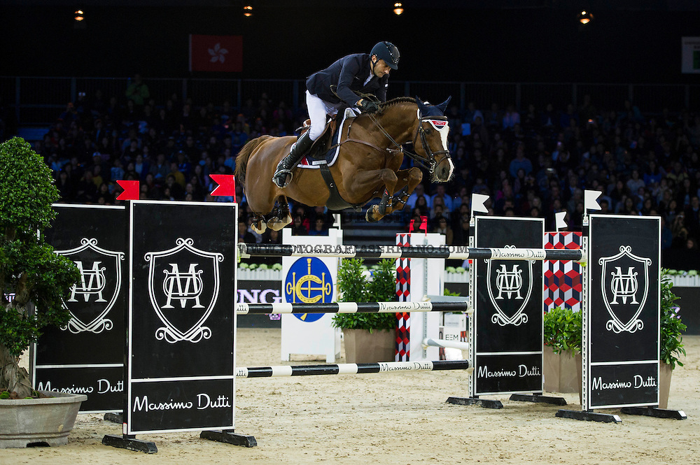 Piergiorgio Bucci on Casallo Z competes during Longines Grand Prix at the Longines Masters of Hong Kong on 21 February 2016 at the Asia World Expo in Hong Kong, China. Photo by Juan Manuel Serrano / Power Sport Images