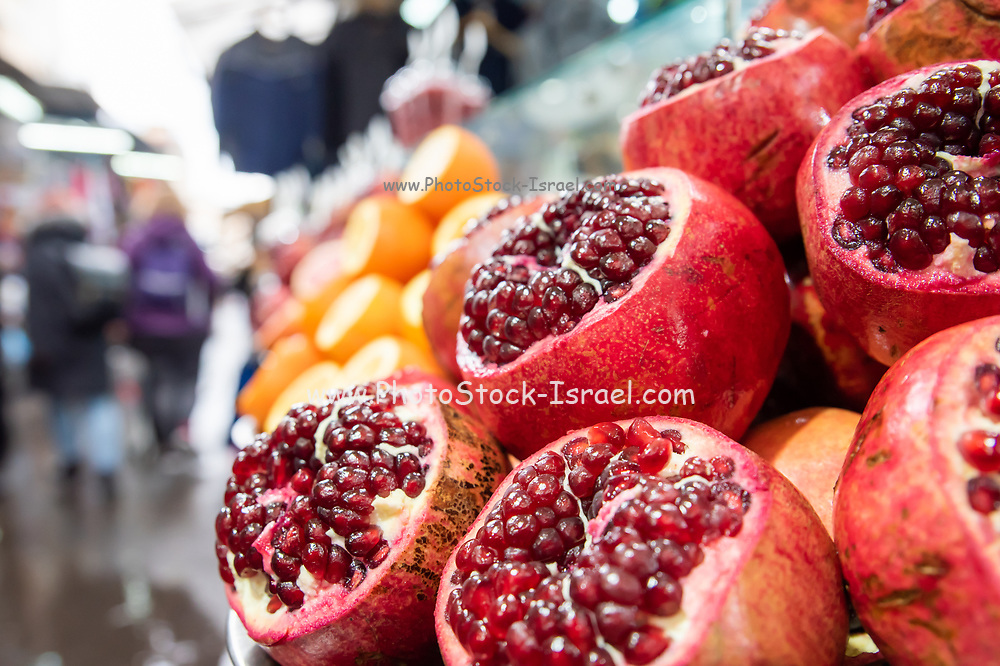 Pomegranates at the Carmel Market, Tel Aviv, Israel