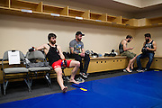 DALLAS, TX - MARCH 14:  Jake Lindsey waits backstage before his fight against Joseph Duffy during UFC 185 at the American Airlines Center on March 14, 2015 in Dallas, Texas. (Photo by Cooper Neill/Zuffa LLC/Zuffa LLC via Getty Images) *** Local Caption *** Jake Lindsey